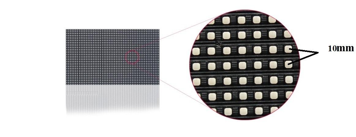 Màn hình Led P10 với khoảng cách mỗi điểm ảnh bằng 10mm