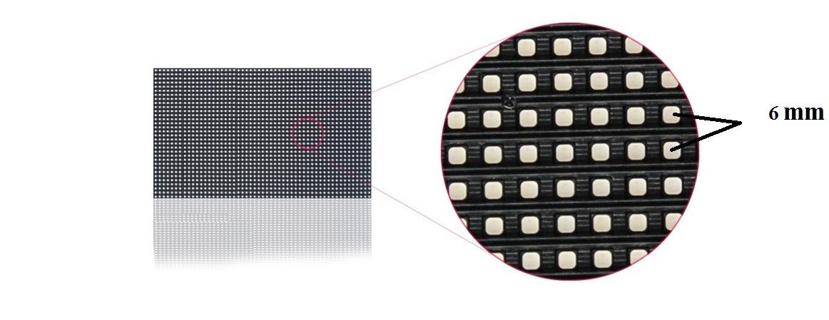 Màn hình led p6 ngoài trời với khoảng cách mỗi điểm ảnh bằng 6mm