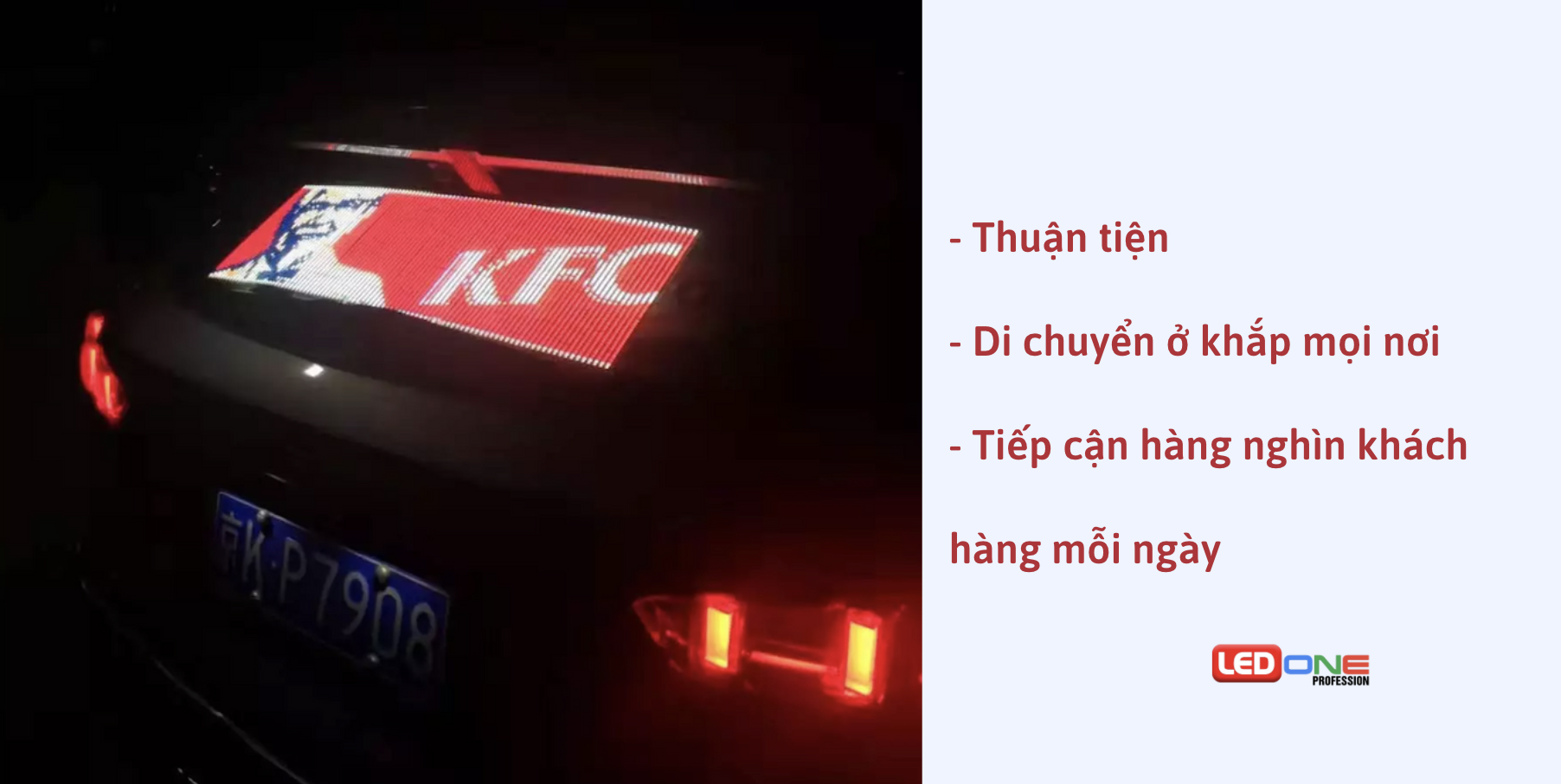 Ưu điểm vượt trội của màn hình LED quảng cáo sau xe ô tô
